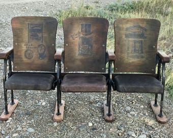 Set Of Old Vintage Theatre Chairs Entryway Bench Seats Industrial Furniture  Steampunk Furniture Urban Loft Furniture