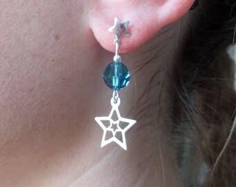 Earrings star studs, silver, crystal blue indicolite, glam rock