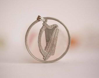 Ireland Cut Coin Necklace. 1 Flóirin, 1951-1968 . Gaelic Harp.