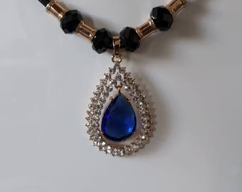 Blue tear drop crystal big pendant necklace