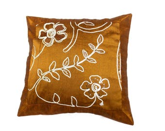 Indian Silk Cushion Cover Home  Embroidery Work Decorative Brown Color Size 17x17""