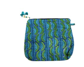 Indian Cotton Banjara Embroidery Clutch Bag in Green Color