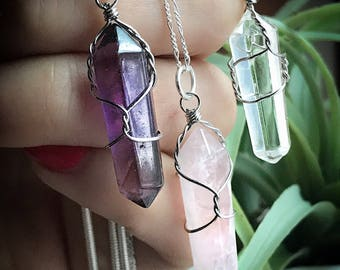 Crystal necklace on 18 inch silver chain