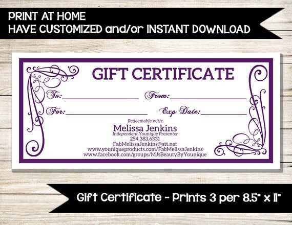 younique gift certificate direct sales vendor event