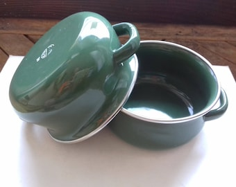 Set of 2 Vintage mini pots/ Enamel Cookware/Small Vintage Enamelware Pots