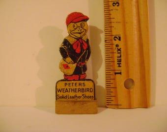 Vintage Peters Weatherbird Shoes Cardboard Die Cut