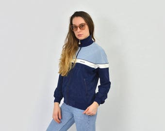 Authentic ADIDAS Vintage tracksuit top 70's 80's blue white brand three stripes 3 zip up track jacket sweatshirt vintage Sport hipster L/XL