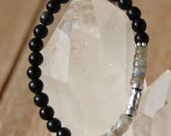 Obsidian and labradorite heishi bracelet