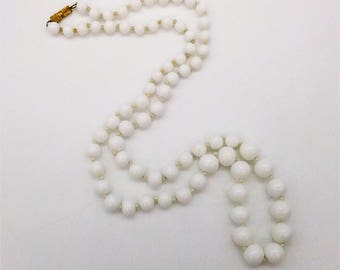 """Vintage Milk Glass Graduated Bead Necklace, Hand-Knotted  25"""""""