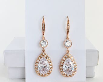 Rose Gold Bridal Drop Earrings Rose Gold Crystal Earrings Rose Gold Wedding Earrings Rose Gold Bridal Earrings Rose Gold Bridesmaid Jewelry