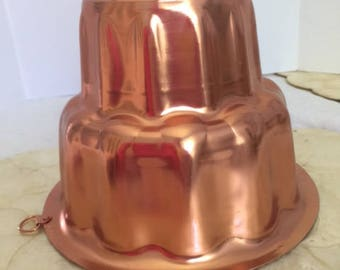 Vintage copper jell-o mold, free shipping