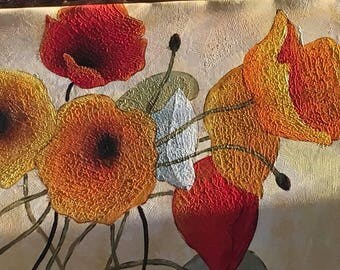 Brillant Color Poppy Oil Painting