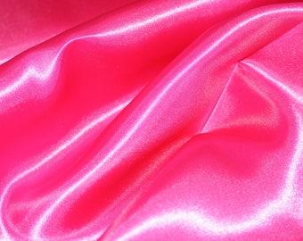Fuchsia Pink Satin Fabric by the yard, bow making satin, decoration fabric, wedding satin, birthday party, anniversary, dress fabric, pink