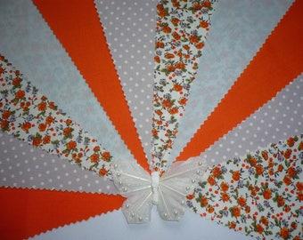 "3m Gorgeous Silver Grey & Orange ""Adele"" Fabric Wedding Bunting"