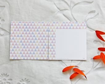 Thank you card (8x8 cm) with a triangle pastel pattern. Birthday card, card for a bouquet.