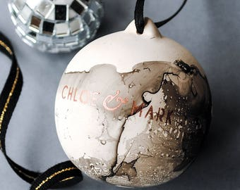 Copper and Marble Personalised Couple Bauble