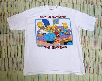 Vintage 1989 The Simpsons Family Bonding T Shirt, Size XL