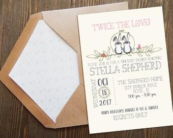 Twin Girls Baby Shower Invitation | Woodland Twins Baby Shower | Rustic Baby Shower Invite | Forest Shower Invite | Twin Bunny Baby Shower