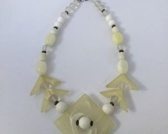 Carol Dauplaise 80's White Lucite Necklace