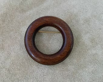 Polished Wood Circle Pin