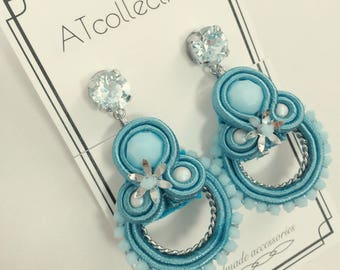 Swarovski Elememts, Soutache, Chandelier Earrings, Non-hole Earrings, Summer Earrings,