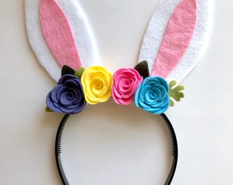 Felt bunny rabbit ear headband - purple, yellow, pink and blue flowers with green leaves