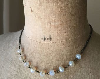Opaque faceted glass bead necklace