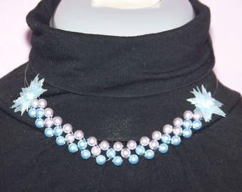 set (2pcs) organza flowers, swarovski pearls