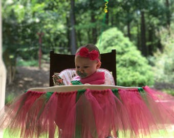 Watermelon Color High Chair Tutu - Pink and Green - 1st Birthday - One in a Melon - READY TO SHIP!