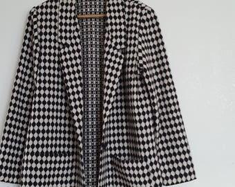 Long Blazer Coat Monochrome LARGE Willowridge
