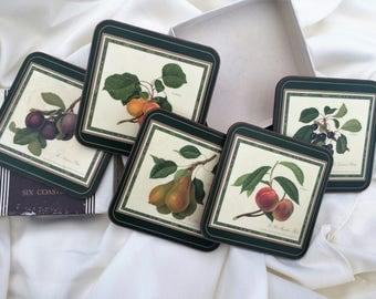 """Pimpernel Regal Drink Coasters. 5 Pimpernel Cork Coasters in Original Box """"Code 02 26"""""""" VKD0019"""