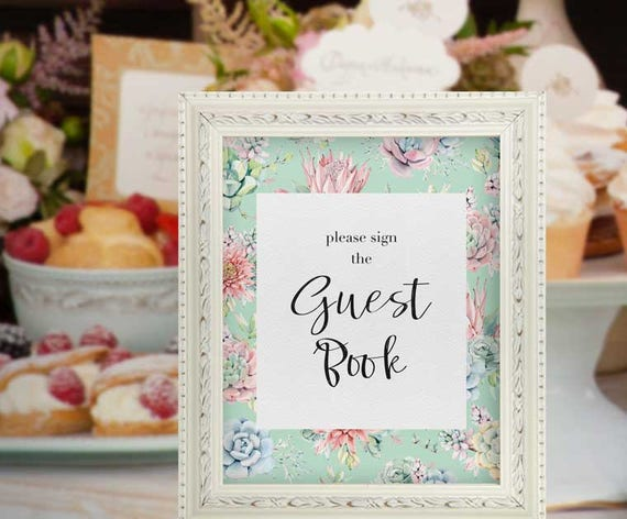 Guest book sign baby shower mint succulent decor aqua baby shower il570xn solutioingenieria Image collections