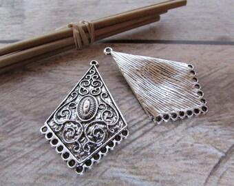 2 connecteur boucle d'oreille 4.5 cm de long  en métal  couleur argenté vieilli - 143.53