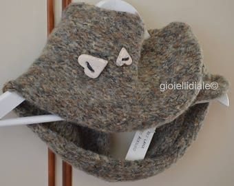 Woman neckwarmer, beige neckwarmer, wool neckwarmer, infinity scarf, beige scarf, raku ceramic buttons, woman birthday, woman Christmas gift