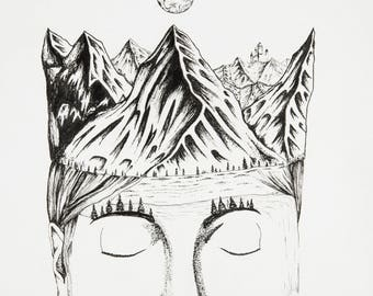 IN ANOTHER REALM, you are royalty, limited release prints (25), 11x14, narnia, mountains, queen pen and ink