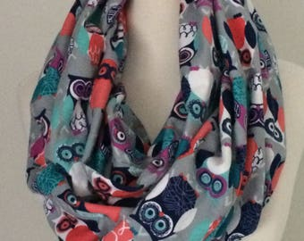 Owl Infinity Scarf Gift for Her Christmas Loop Scarves Fall Winter