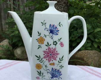 Schirnding Bavaria Coffee Pot, Boho Style, Blue Cornflowers, Cottage Decor, Mid Century Modern