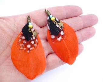 "Large Natural Feathers Charm_ PA002158764/32501_Feathers_ Orange point /star_ of 70 mm /2,75"" _ pack 2 pcs"