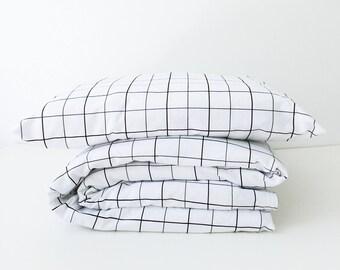 Toddler Bedding, Toddler Duvet Cover, Black White, Black Grid, IKEA Toddler Sheets, Kids Bedding, Duvet Cover, Crib Sheet, Nursery Decor