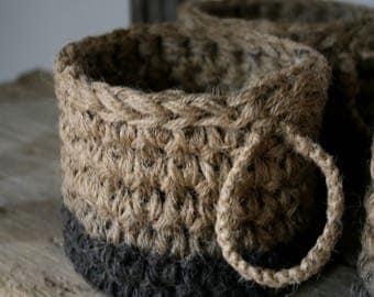 Crochet baskets with burlap twine