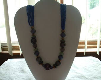 80's Tribal Style Wood and Seed bead Chunky Necklace