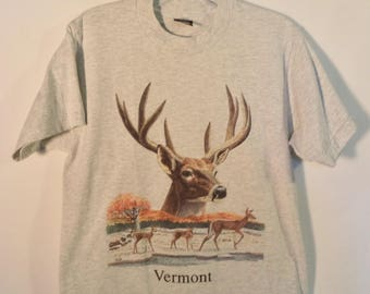80s Vermont t shirt// Vintage Screen Stars Best USA made// Bohemian travel souvenir deer nature// Bernie state pride// Women small medium M