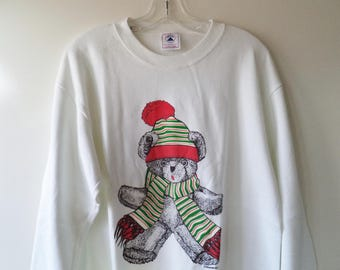 Vintage Christmas teddy dear holiday sweatshirt// 80s Delta made in the USA// Unisex size large L