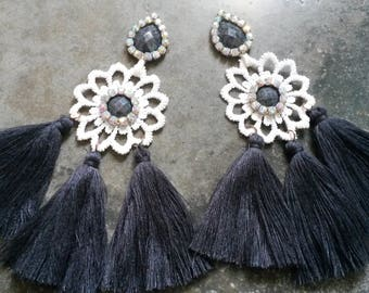 earrings with tassels and torchon