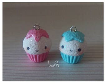 Kawaii kawaii cupcakes: starfish charms for lovers, best friends, siblings, new born, twins-cute handmade polymer clay charms