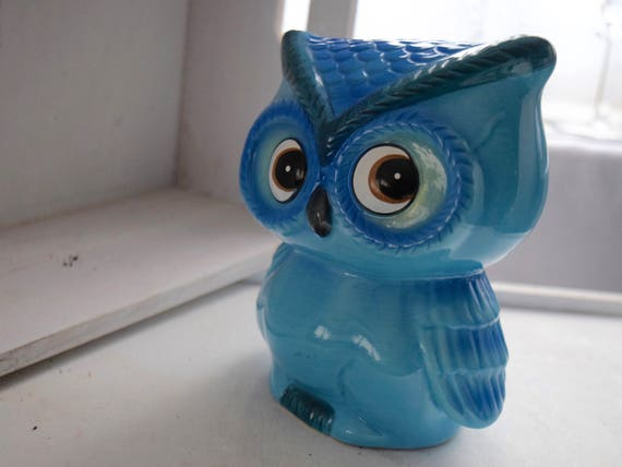 Blue Owl Ceramic Money Box, Savings Bank, lolly, money, savings, 6 inches, cheeky sideways glance