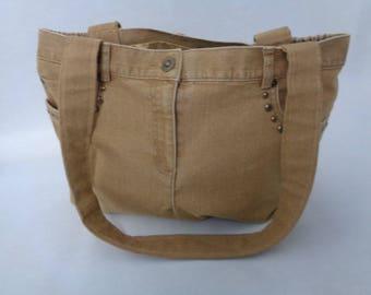 Denim Bag, Gold Retro Denim Bag, Upcycled Denim, Gift for her, Retro Purse, Purse, Handbag, Gold Purse