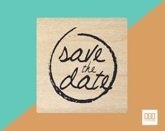 Save the Date Round - 3cm Rubber Stamp (DODRS0138)