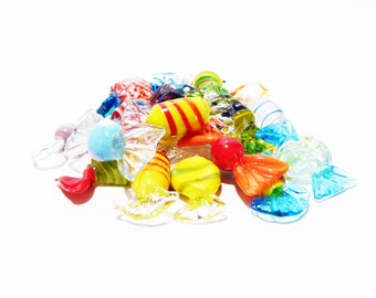 18 Hand-blown glass coloured candies made in Murano - original Murano glass candies - hand-blown glass candies - Venice candies
