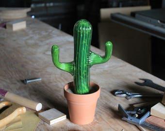 Glass Cactus Sculpture